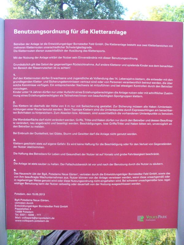 Foto Rutschenturm Benutzungsordnung
