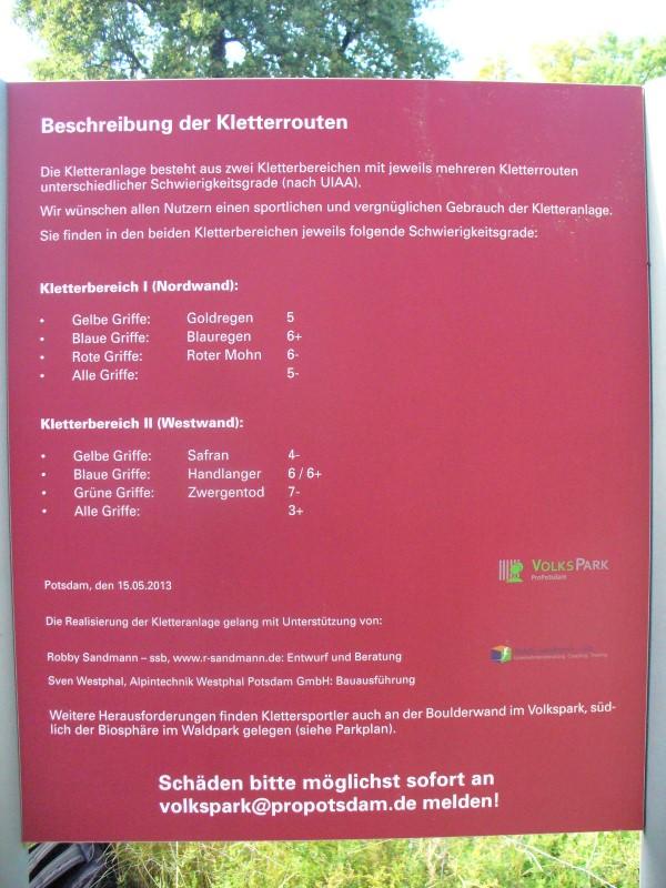 Foto Rutschenturm Beschreibung Kletterrouten
